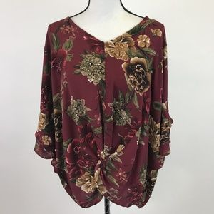 Umgee Floral V-Neck Top Bell Sleeves Knotted Waist
